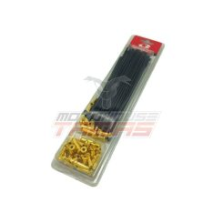 Ακτίνες ενισχυμένες 3,6mm 9G μαύρο / χρυσά καψούλια RCB (RACING BOY)